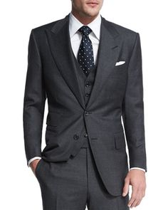 Windsor+Base+Sharkskin+Three-Piece+Suit,+Charcoal+by+TOM+FORD+at+Neiman+Marcus.