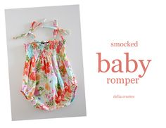 delia creates: Smocked Baby Romper Tutorial - I had no idea there was such a thing as snap tape...sah-weet!