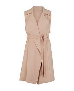 Cameo Rose Camel Waterfall Sleeveless Jacket  | New Look