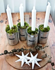 Advent wreath in modern design - Christmas decoration with ordinary . - Advent wreath in modern design – Christmas decoration with ordinary things to make yourself - German Christmas, Noel Christmas, Christmas Is Coming, All Things Christmas, Winter Christmas, Christmas Crafts, Christmas Decorations, Xmas, Christmas Ornaments