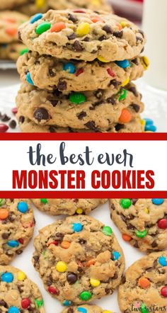Soft and Chewy Monster Cookies - peanut butter and oatmeal cookies chocked full of chocolate chips and M&M's, so many delicious flavors in one yummy cookie. Delicious Cookie Recipes, Baking Recipes, Dessert Recipes, Baking Ideas, Potluck Desserts, Kids Baking, Candy Recipes, Yummy Food, Soft Baked Cookies