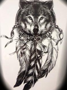 Waterproof Temporary Tattoo Stickers large size feather dreamcatcher wolf tatoo flash fake tattoo for men women Trendy Tattoos, Black Tattoos, Tattoos For Guys, Wolf Tattoos For Women, Wolf Tattoo Design, Tattoo Designs, Wolf Design, Atrapasueños Tattoo, Tattoo Wolf