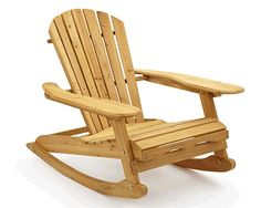 """HouseandHomeShop.co.uk Trueshopping Outdoor Garden / Patio / Lawn Adirondack Vintage """"Bowland"""" Rocking Rocker Chair Natural Wood Finish Perfect for Indoor Or Outdoor and Easy To Assemble."""
