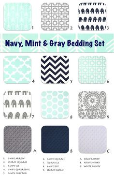Mint Gray Navy Crib and Toddler Nursery and by ColorCornerShop. seems to do curtains