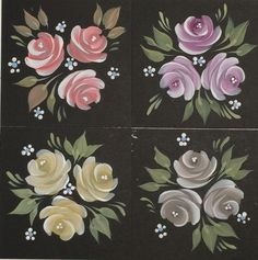 Create different looks by changing your paint. Choose the favourite colours of the person you are painting the card or gift for. Here are our Vintage Roses in our Series 1 and Series 2 paints. Our Starter and rose kits are available from www.folkit.co
