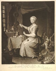 """""""The Cook Maid"""". Interior with a maid seated on a chair stuffing a partridge; fireplace in the background; dead hare and pheasant to right; cat seated under a table; window to left; vegetables on the floor in the foreground to right. Print made by Johann Elias Haid, after Johann Casper Heilmann. Published in Augsburg,Germany, 1773."""