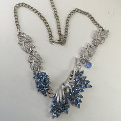 Special Occasion Necklace Pendant Blue Rhinestone Leaf by ravished