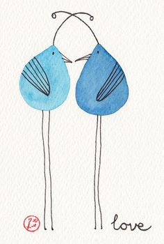 Blue love birds - art by Carmie Araujo Watercolor And Ink, Watercolor Paintings, Heart Tatoo, Happy Paintings, Whimsical Art, Bird Art, Doodle Art, Easy Drawings, Art Lessons