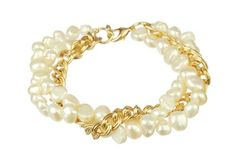 "White Freshwater Pearl and Gold Tone Chain with Gold Plated Sterling Silver Clasp Bracelet, 7.5"" Amazon Curated Collection. $22.98. Made in United States"