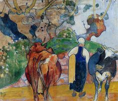 Peasant Woman and Cows in a Landscape, 1890, oil on canvas, Cloisonnism, Breton period, Paul Gauguin (1848-1903).