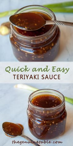 This sauce is so easy and is from scratch! All you have to do is mix the ingredients together and bring to a boil. The sauce thickens and is ready to use with any meal! recipe from scratch Teriyaki Sauce Molho Teriyaki, Sauce Teriyaki, Gluten Free Teriyaki Sauce, Teriyaki Sauce Ingredients, Teriyaki Pork Chops, Teriyaki Noodles, Spicy Thai Noodles, Teriyaki Glaze, Japanese Recipes