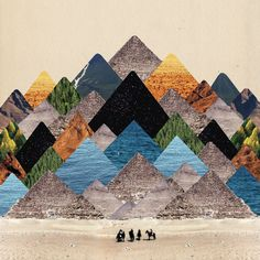 Collage Pyriamids - could do trees or mountains instead