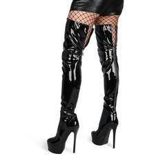 Women's Dance Platform Stiletto Stretch Thigh High Boots for   Up2Step Stretch Thigh High Boots, Thigh High Boots Heels, How To Stretch Boots, Heeled Boots, Platform Stilettos, Stiletto Heels, Thigh Highs, Patent Leather, Calves