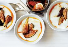 Milk pudding with rose water caramel and figs.  Almost any fresh fruit (pears, apples, berries) can replace the figs.
