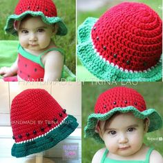 "Watermelon Sun Hat Code No: #35WMH052016 Material: 80% Cotton and 20% Milk Fiber Yarn Color: Red and Green (With Black Pony beads) Size: 16"" in Ø"