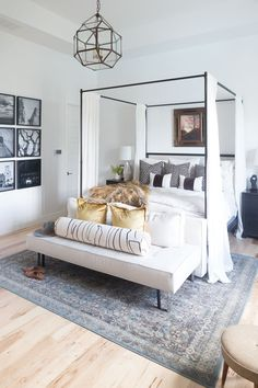 Boho Bedroom Decor Simple Sophisticated Transitional Master Bedroom Ideas - Home with Holliday.Boho Bedroom Decor Simple Sophisticated Transitional Master Bedroom Ideas - Home with Holliday Fall Home Decor, Autumn Home, Home Decor Bedroom, Bedroom Ideas, Bedroom With Sofa, Modern Bedroom, Modern Canopy Bed, Canopy Bed Curtains, Metal Canopy Bed