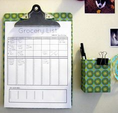 Printables. I also love the idea of a clipboard on the wall to hold the grocery list