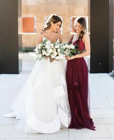 Loving these beauties in ❤️ The stunning bride is in style and her beautiful bridesmaid is in Wedding Bridesmaid Dresses, Bridal Dresses, Bouquet Wedding, Wedding Nails, Hayley Paige, Burgundy Wedding, Wedding Wishes, Dream Wedding, Wedding Things