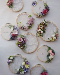 Pin by San San on courronne in 2020 Ofrenda Floral Carnosa, Diy Arts And Crafts, Fun Crafts, Wedding Embroidery, Floral Hoops, Deco Floral, Home And Deco, Diy On A Budget, Diy Wreath