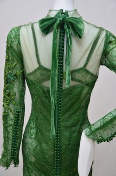 Tom Ford Emerald Green Embroidered Silk Satin Lace Dress   From a collection of rare vintage evening dresses at https://www.1stdibs.com/fashion/clothing/evening-dresses/