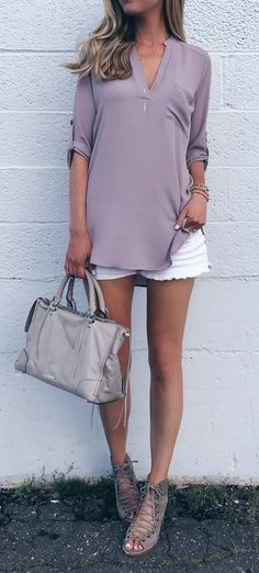 Summer Sale Outfit - purple tunic with white denim shorts