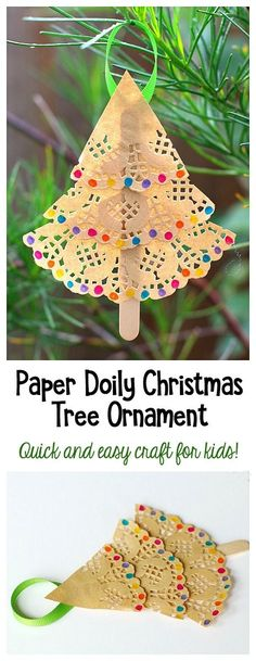 Paper Doily Christmas Tree Ornament for Kids to Make: This easy Christmas craft uses paper doilies and makes a special keepsake for a loved one. Because it's so easy and quick, it's the perfect art project for a classroom Christmas party. It allows for creativity and looks so cute hanging on the Christmas tree! ~ BuggyandBuddy.com #christmas #christmascraftsforkids #DIYchristmasornaments #homemadechristmasgiftsforkids #homemadechristmasornaments #preschooolchristmascraft…
