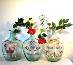 Extra Large Hand Painted Demi John Wine Bottles by ChaseVintage, $300.00