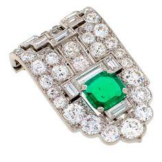 Art Deco Emerald, Diamond & Platinum Clip  Unknown  Circa 1930's