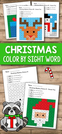 Color By Sight Word - Christmas Activities for Kindergarten includes some fun printable games that you can use for teaching and practice dolch sight words at school or at home. Your students will have so much fun coloring these Christmas and Winter mystery pictures and practicing the primer sight words on the Dolch list. #kindergarten #sightwords #christmas #activities #mysterypictures