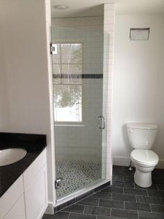 Custom sliding shower door by www.glassworksvt.com