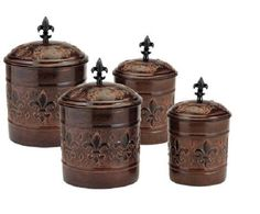 Fleur De Lis Canister Set Canisters Sets For Kitchen Counter Copper Brown Coffee #OldDutch