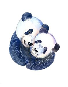 Original Watercolor Wedding Pandas, 11x14 Paper, Gift Surprise, white red blue, Elena Schnaider Artworks