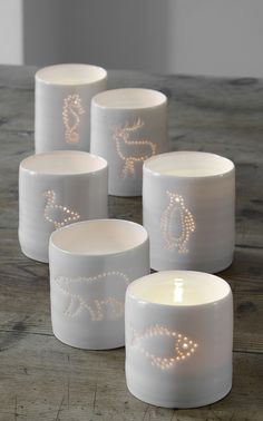 arctic wildlife collection of fine pierced porcelain tealights, all handmade in London from www.lunalighting.co.uk