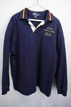 RALPH LAUREN POLO RUGBY VINTAGE LONG SLEEVE SHIRT SZ LG YELLOW & NAVY STRIPED #RalphLauren #PoloRugby