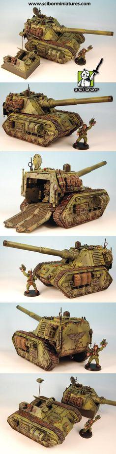 Warhammer 40K Imperial Guard Armageddon pattern Basilisk & Griffon Mortar