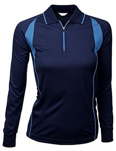 f389d3d358 de amazon.com · Womens Coolon Fabric Sporty Lusurious Long Sleeve Polo T  NAVY Size XL   Learn more by