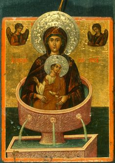 """""""Life-giving Spring,"""" The Sinai Icon Collection Byzantine Icons, Byzantine Art, Religious Icons, Religious Art, Constantine The Great, Lady Madonna, Best Icons, Icon Collection, Orthodox Icons"""