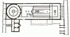 Planta de la basílica del Santo Sepulcro (Jerusalén), S.IV. Edif. entre 325-336, se accede por un atrio a sus 5 naves. Termine en un ábside con 12 columnas=12 apóstoles levantado sobre el sitio donde se encontraron los restos de la cruz.. Una construcción circular se halla donde se localizó el sepulcro de Jesucristo =maryrium que conmemora la muerte de Cristo. -11