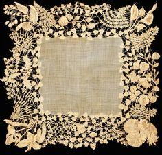 Irish Lace wedding handkerchief (1850-70)