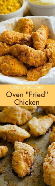 """Crispy on the outside and tender on the inside, this oven """"fried"""" chicken is so delicious and does not require any deep-frying!"""