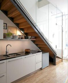 Kitchen Design Small Space Stairs Ideas For 2019 Small Space Stairs, Small Space Kitchen, Mini Kitchen, Kitchen Under Stairs, Under The Stairs, Basement Kitchen, Kitchen Storage Units, Kitchen Cupboard, Basement Stairs