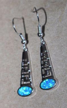 blue fire opal earrings gemstone silver jewelry Greek Key design drop/dangle G5W #DropDangle