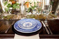 blue china tablescape