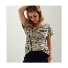 LOFT Lou & Grey Spaceknit Sweatshirt Tee ($50) ❤ liked on Polyvore featuring tops, t-shirts, forever navy, boat neck tee, boat neck tops, navy tops, boatneck tee y boatneck top