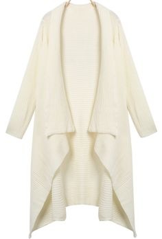 To find out about the White Lapel Long Sleeve Loose Knit Cardigan at SHEIN, part of our latest Sweaters ready to shop online today! Sweater Coats, Sweater Cardigan, Sweaters, Classy And Fabulous, Moda Online, Fashion Accessories, Ruffle Blouse, Outfits, Knitting