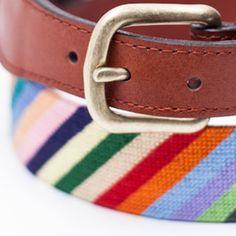 Parson Stripe Needlepoint Belt