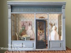 French Dollhouse Room Box Miniature Dress Shop by TinyDwelling