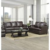 Found it at Wayfair - Royal Cranberry Italian Leather Sofa and Loveseat Set