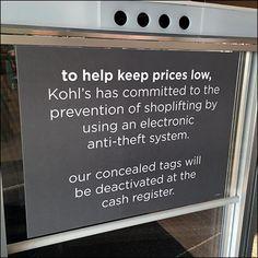 Kohl's Electronic Anti-Theft Warning Sign – Fixtures Close Up Warning Signs, Electronics, Consumer Electronics