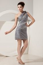Beading Grey Short Prom Cocktail Dresses One Shoulder